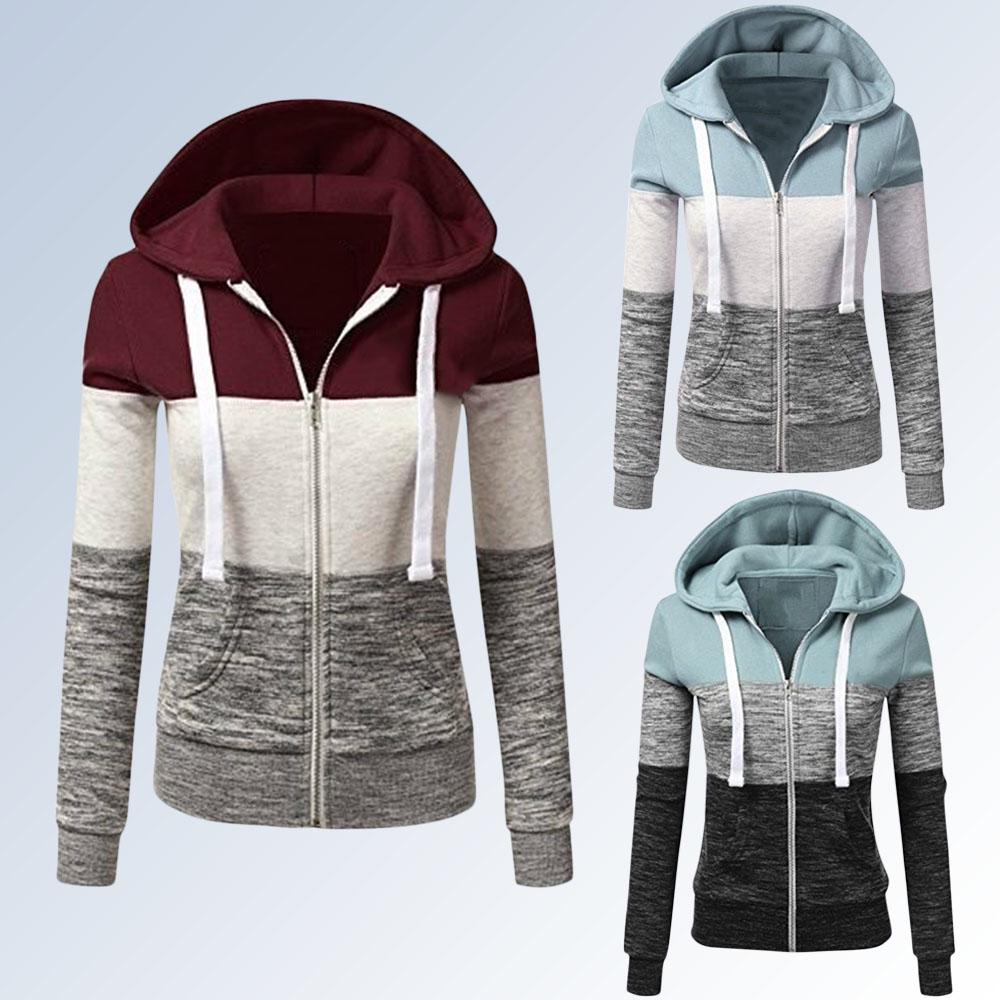 Patchwork Hoodies Women Hooded Polyester Zipper Pocket Coat Casual Drawstring Sweatshirts Female Sports Outwear