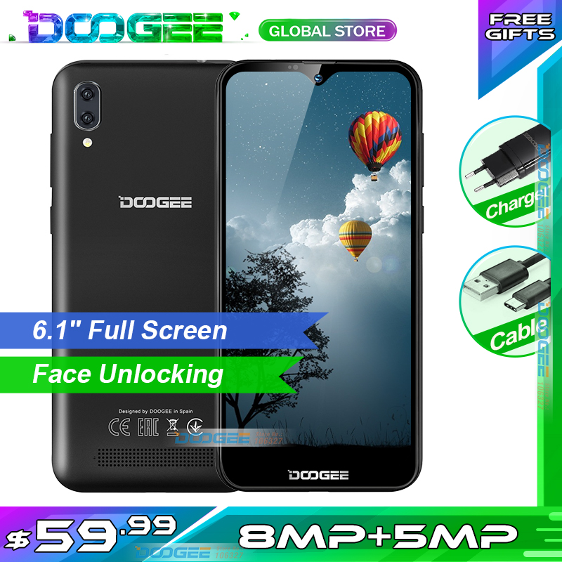Doogee X90 Mobile Phone 6.1″ HD Waterdrop Screen 1GB RAM 16GB ROM 3400mAh  MT6580A/WA Quad-Core Face ID Android 8.1 Smartphone