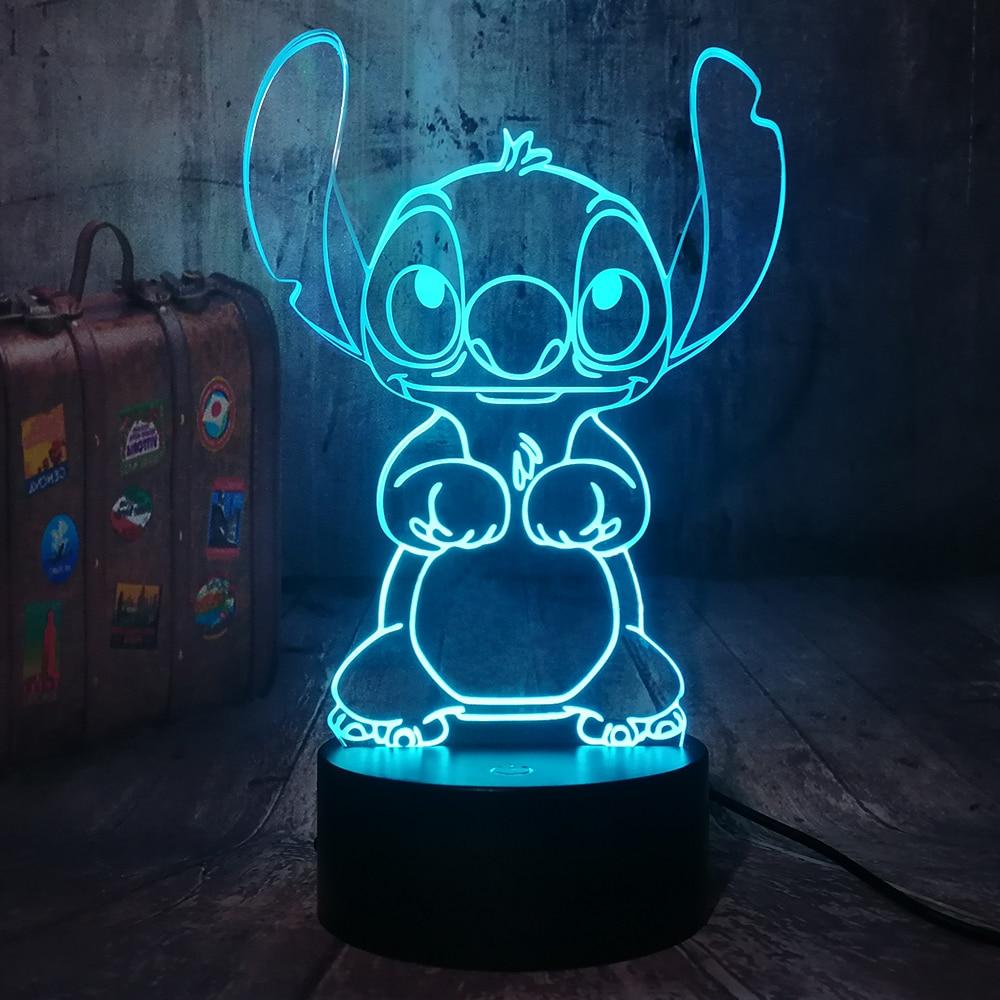Neue Cartoon Niedlichen Stich 3D LED Nachtlicht 7 Farbe Ändern Baby Schlaf Tisch Lampe Home Decor Ferien Kinder Neue jahr Weihnachten Geschenk