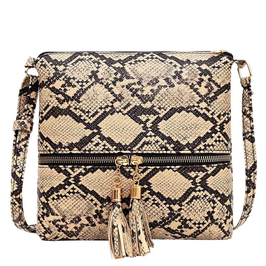 New Womens Snake Skin Pattern Handbag Messenger Shopper Shoulder Crossbody Bag