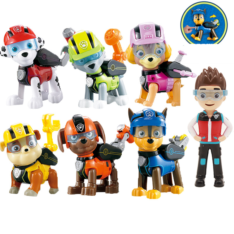 7pcs/set paw patrol Toys Dog Can Deformation Toy Captain Ryder pat patrouille birthday Action Figures Toys for Children Gifts
