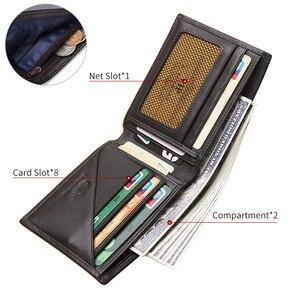 Image 4 - バイソンデニムビジネスカジュアル財布メンズソフト本物の牛革財布ブランドショートカードホルダー財布ファスナーコインケースN4411