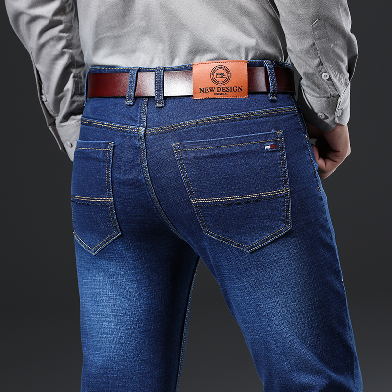 Hff4b8bb500124619b7cc8b5950329addF - 2020 New Design Jeans Mens Pants Cotton Deniem Classic Trousers Casual Stretch Slim High Quality Black Blue Multiple Styles