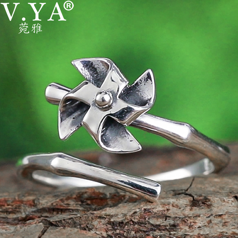 V.YA Pure 925 Sterling Silver Windmill Rings For Women Adjustable Size Ring Fashion Creative Design Best Gifts Jewelry