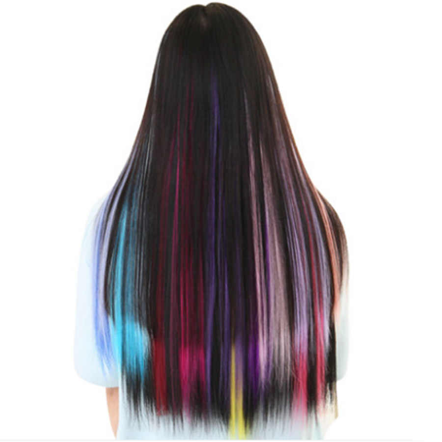 Long Straight Women High Temperature Synthetic Clip in Hair Extension Hairpiece purple pink red blue rose Colorful Headwear