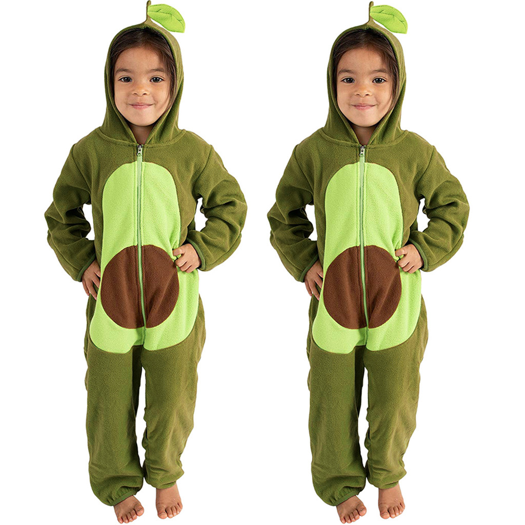 2020 New Casual Children Clothes For Baby Boys Girls Party Lovely Avocado Fruits Cute Hooded Jumpsuit Costume Outfits Clothing