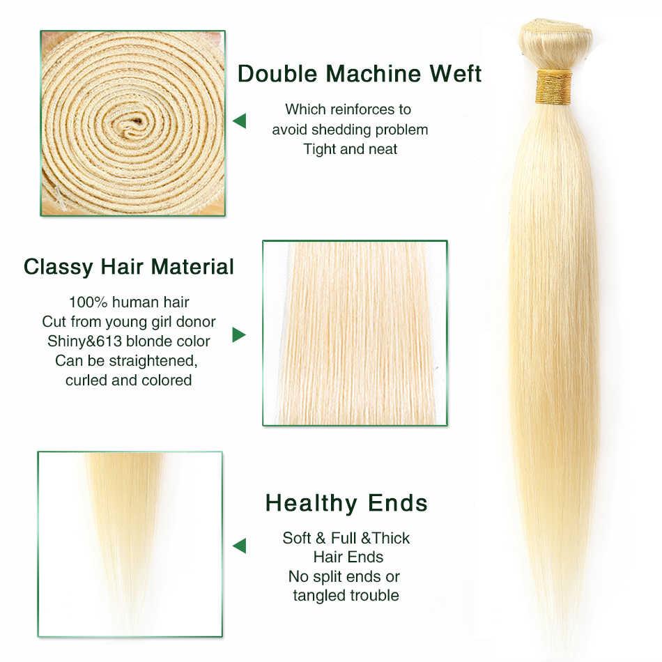 Aisha Queen 613 Blonde Straight Hair Bundles Peruvian Medium Ratio Non-Remy Human Hair Extension Honey Blonde Bundles 8-28 Inch
