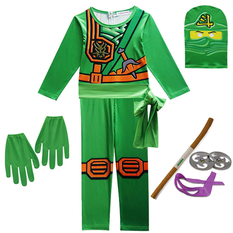 Ninjago Cosplay Costumes Boys and Girls Jumpsuit weapon Set cosplay anime children's fantasy Halloween Christmas Party clothes 2