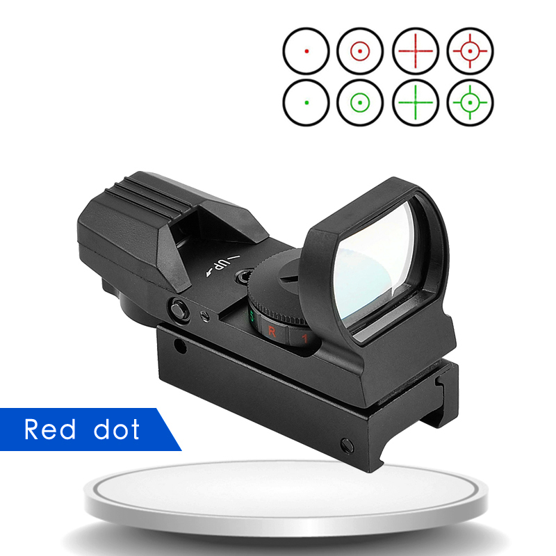 Hot 11mm/20mm Rail Reflex 4 Reticle Tactical Scopes Optics Holographic Sight Red Dot Collimator Sight  For Airsoft Air Gun охота