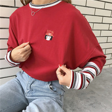 Korean Stripe Patchwork T Shirt Cartoon Letter Embroidery T-shirt Long Sleeve O-neck Women Causal T-Shirts