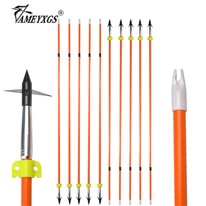 10/16pcs 32inch Archery Fishing Fiberglass Arrow Hunting Bowfishing Safety Slider Arrowhead Outdoor Shooting Accessories