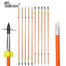 10/16pcs 32inch Archery Fishing Fiberglass Arrow Hunting Bowfishing Safety Slider Arrowhead Outdoor Shooting Accessories