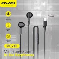 Awei tipo C cuffie cablate con auricolari bassi auricolare Stereo musica Sport cuffie da gioco con microfono per auricolari Xiaomi Huawei