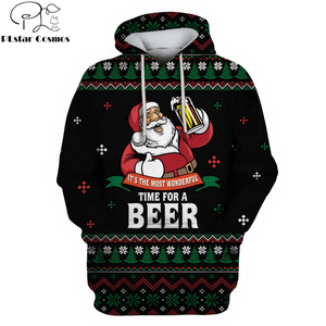 2019 Christmas New Fashion Men hoodies 3D Santa Claus Drinking Beer Full-Print Hoodie Apparel Unisex Hoody streetwear