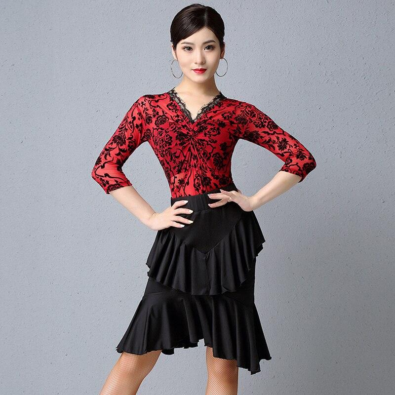 Latin Dance Dress Sexy Lace V-Neck Tops Skirt Women'S Ballroom Samba Practice Clothing Ladies Stage Performance Dancewear DL4909