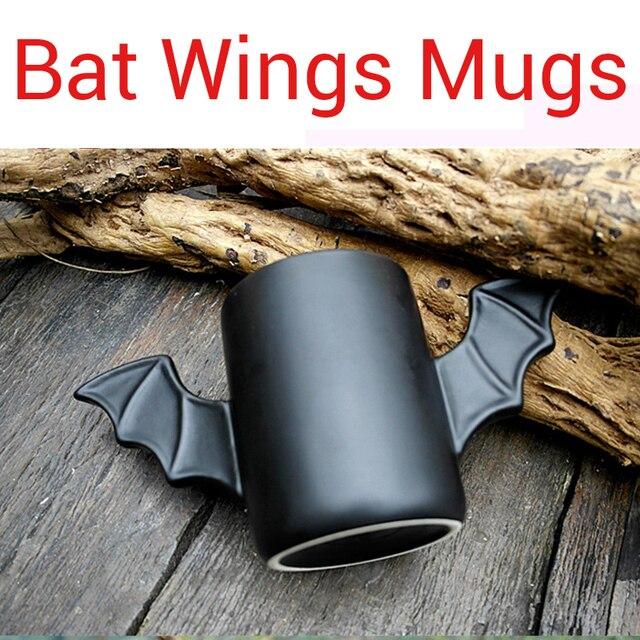 Taza de cerámica con diseño de alas de murciélago para hombre, taza creativa de cerámica con diseño de alas de murciélago de color negro, regalo de cumpleaños para amigos
