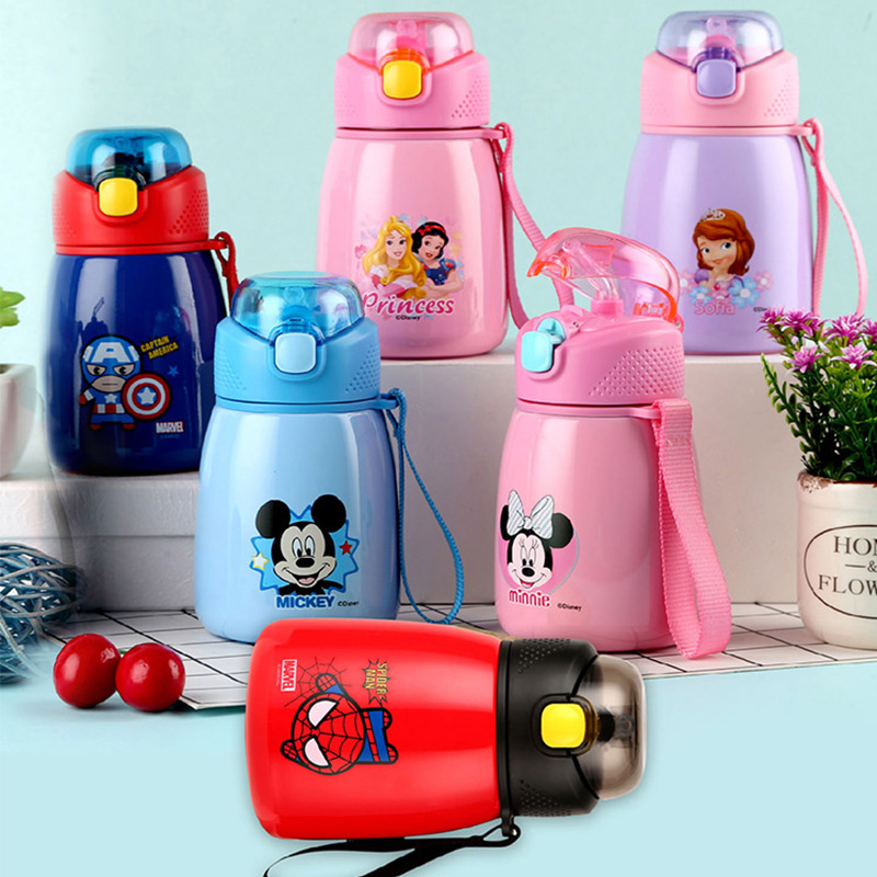 350ml Baby Straw Thermos Bottles Water Feeding Cup Mickey Mouse Children School Stainless Steel Portable Thermal Cup Bottle