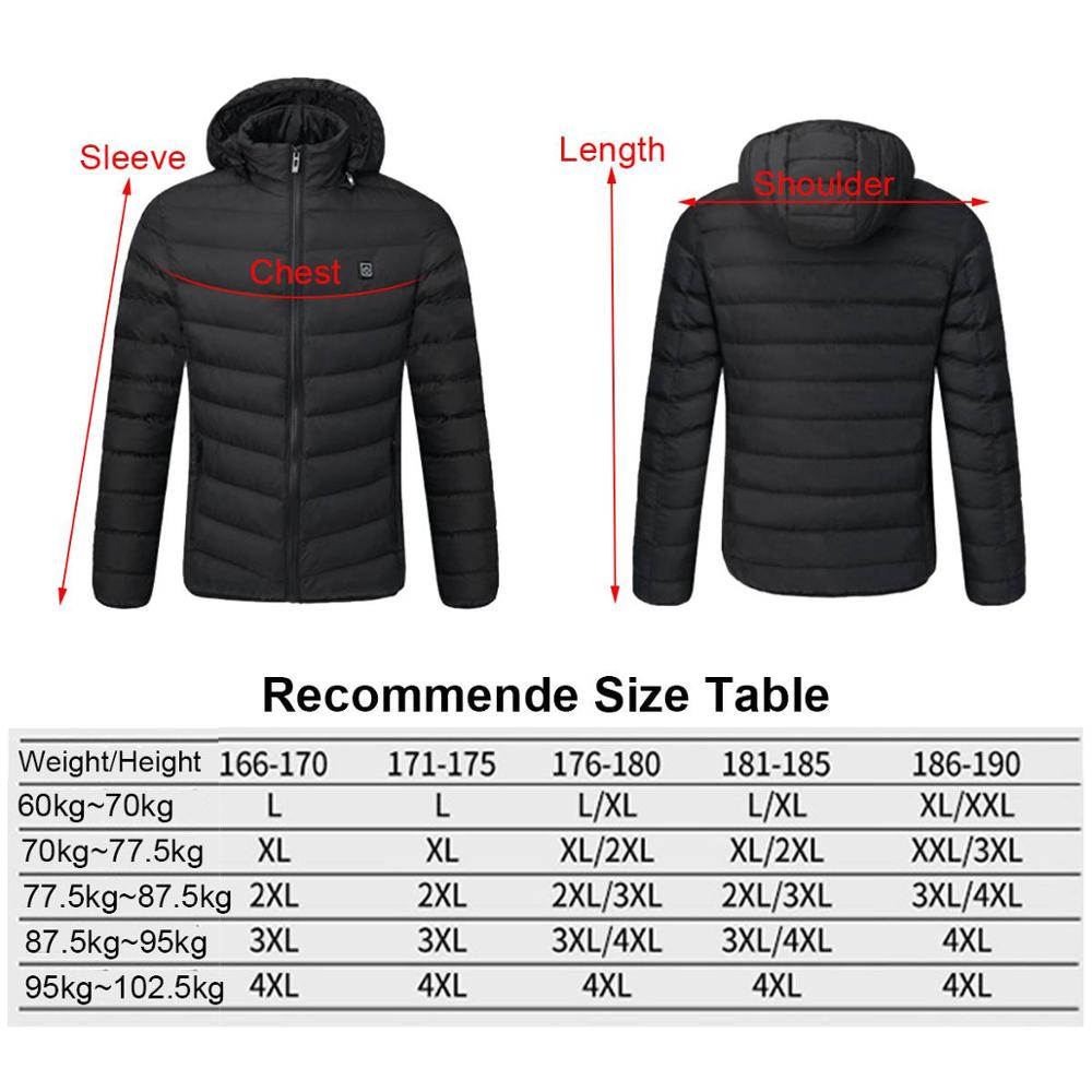 2020 NWE Men Winter Warm USB Heating Jackets Smart Thermostat Pure Color Hooded Heated Clothing Waterproof Warm Jackets 4