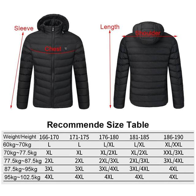 2021 NWE Men Winter Warm USB Heating Jackets Smart Thermostat Pure Color Hooded Heated Clothing Waterproof  Warm Jackets 4