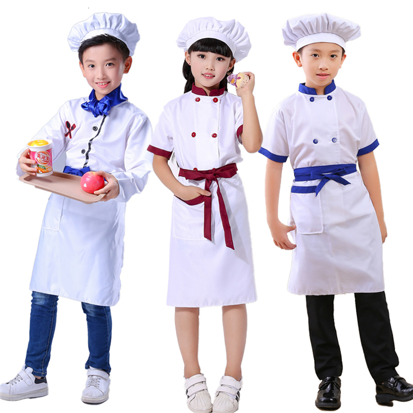 Chef Kids Costumes Kindergarten Performance Clothing  Food Services Solid Breathable Christmas Halloween 4pcs Cosplay Costumes