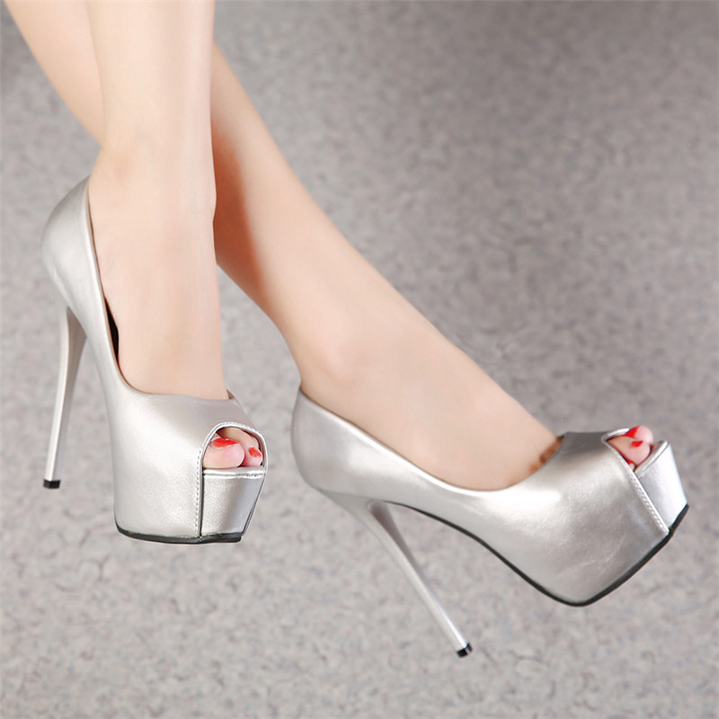 Prom Shoes High Heels Platform Sexy Shoes 14cm Silver Pumps Women Peep Toe Zapatos High Heels Wedding Party Shoes Women Sandals