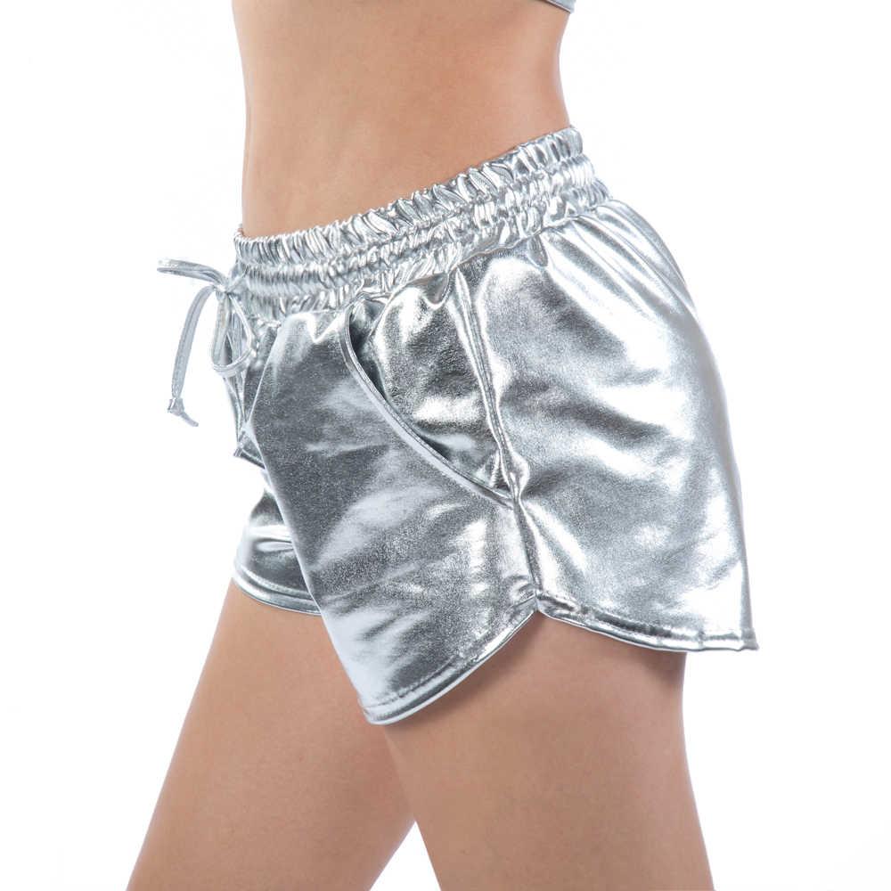 Feminino colorido brilhante metal quente shorts 2019 verão holográfico molhado olhar casual elástico drawstring festival rave booty shorts