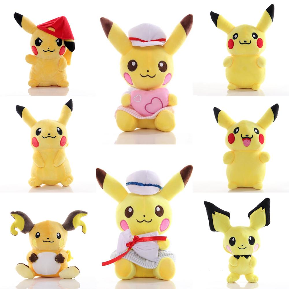 7 Style Pikachu Raichu Pichu Anime Plush Doll Soft Toy Doll Birthday Present For Kid Baby Gift Around 20 CM