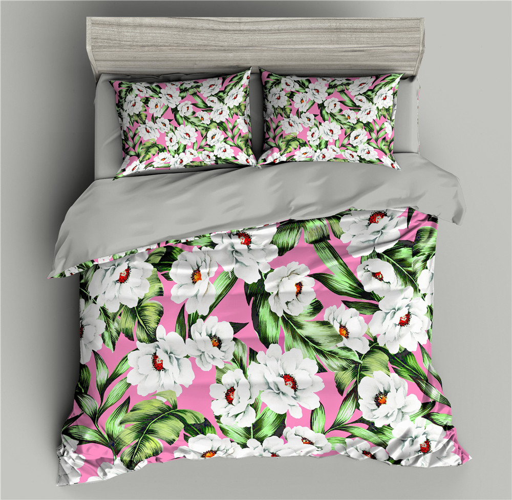 Flowers Pattern 3D Bedding Set Pink Duvet Cover Bedding Queen Comforter Sets King Size Bed Quilt Covers Pillowcase Bedding Sets