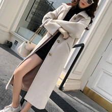 Slim Woolen Coat Womens Autumn Winter New Korean Wild Large Size Solid Color Casual Long Blends