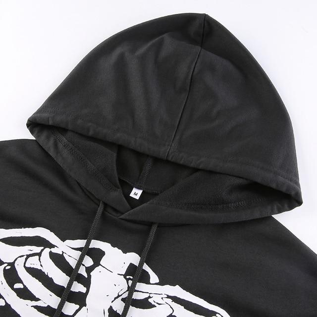 Black hoodie with white skull print