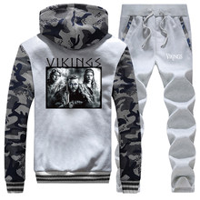 TV Show Vikings Lagertha Camo Male Set Ragnar The Viking Men's Thick Sets Winter Fashion Streetwear Hip Hop Fleece Tracksuit(China)