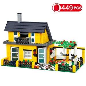 Image 3 - City Architecture Villa Cottage Model Building Blocks Compatible Friends Beach Hut Modular Home House Village Construction Toys