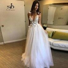 פרחי חתונה שמלה לבן Vestido דה noiva 2020 3D פרח עמוק V צוואר חתונה שמלת עדין אפליקציות ללא משענת כלה שמלה