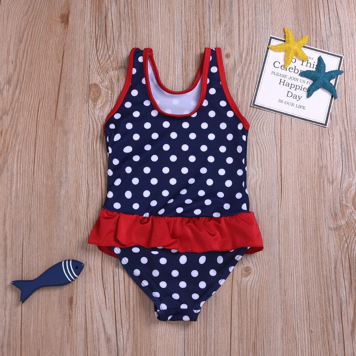 Kid's Swimwear New Style Europe And America Girls Dotted One-piece Swimming Suit Beach Summer Swimwear
