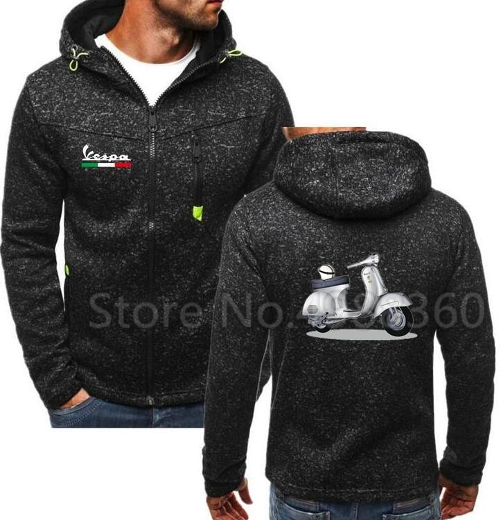 2019 Brand Men Spring New Hoodies Men Vespa Print Hoodies Sweatshirts Motorcycle Casual Winter Zipper Hooded Jackets JYF