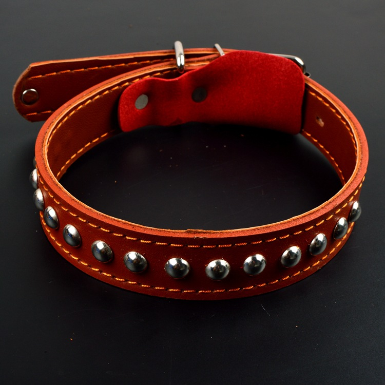 Pet Dog Chain Cowhide Rivet Mushroom Nail Genuine Leather Dog Collar Dog Hand Holding Rope Pet Supplies