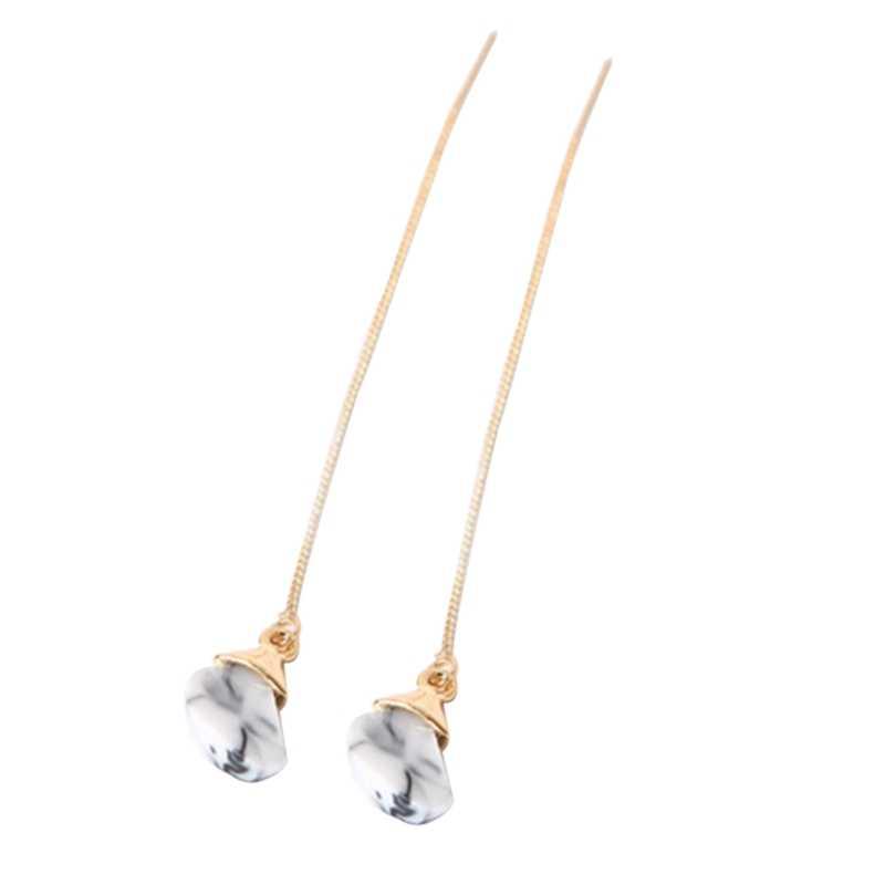 Hot moda kobieta sztuczne akrylowe powierzchni Stereo wisiorek linia długie kolczyki Dangler kolczyki popularne świąteczne prezenty