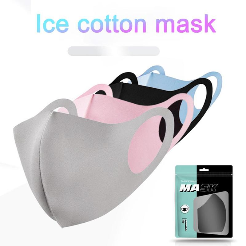 1pcs Ice Silk Cotton Mouth Mask Breathable Dustproof Anti-fog Mask 3d Solid Washable Mask Protection Mask