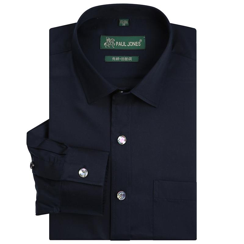 Mens Luxury Diamond Button Solid Dance Prom Dress Shirt Single Patch Pocket Long Sleeve Regular-fit Cotton Social Wedding Shirts