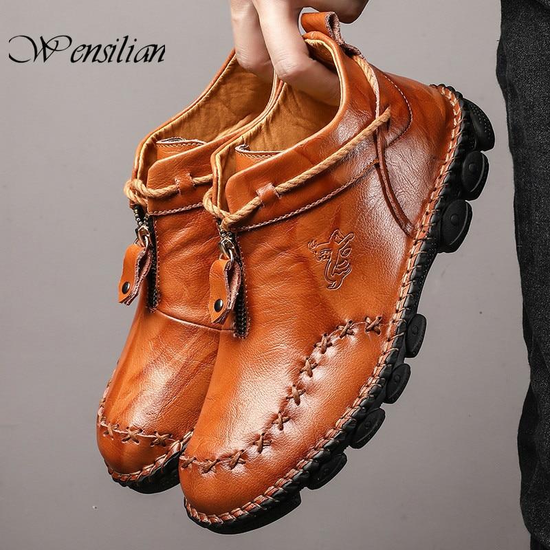 Мужские ботинки из натуральной кожи; повседневная обувь из коровьей кожи; Модные ботильоны; Легкие кроссовки; мужская обувь на молнии; Zapatillas...