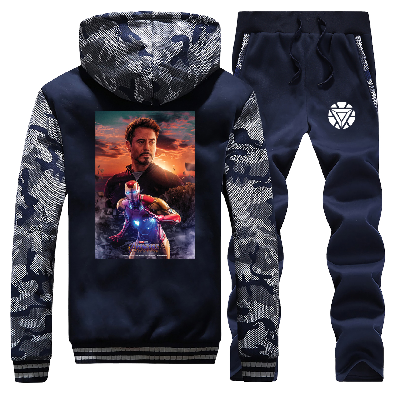 Avengers Endgame Print Hooded Men Streetwear Raglan Camouflage Winter 2019 New Iron Man Coat Thick Suit Hoodie+Pants 2 Piece Set