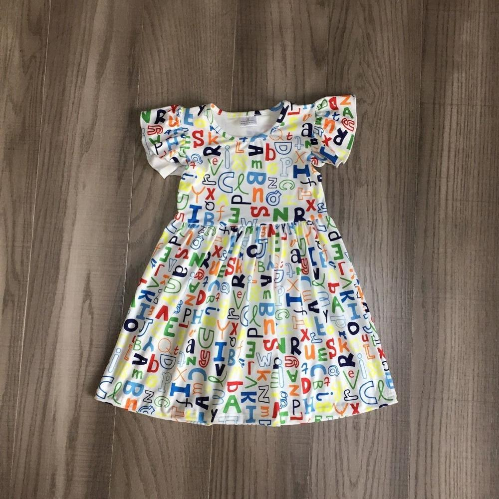 Baby Girls Summer Dress Girls Back To School Clothes Letters Dress Girls Colorful Dress Girls Boutique Dress