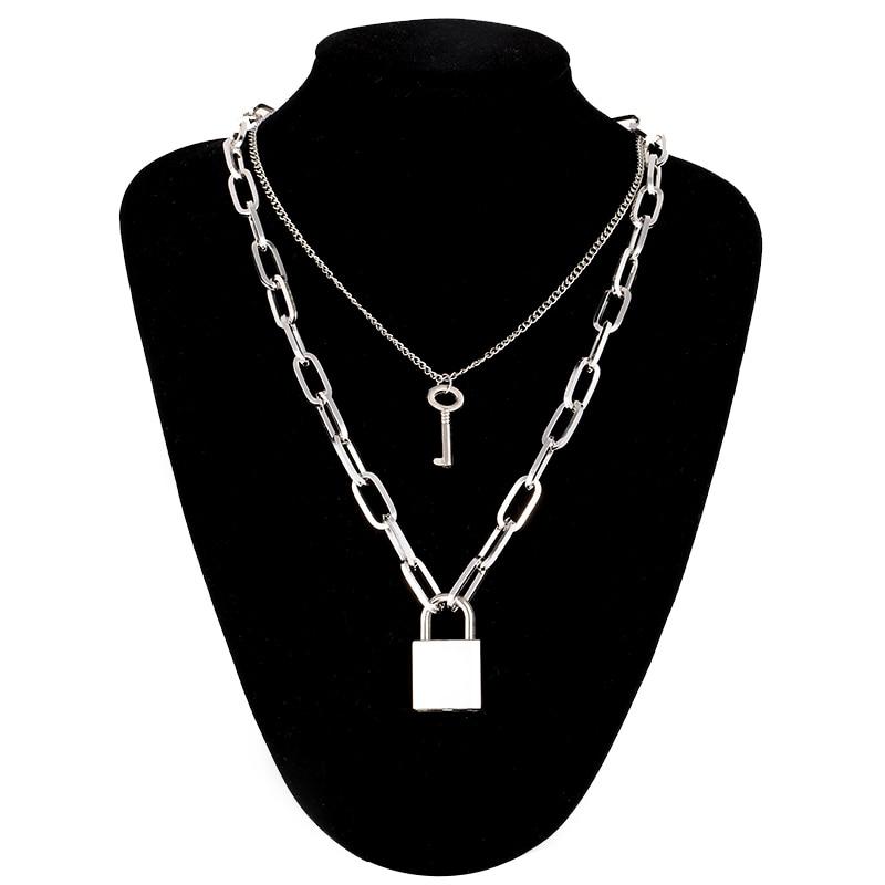 Двухслойная цепочка с замком, ожерелье в стиле панк 90 s, серебряная цепочка, цветной висячий замок, ожерелье с кулоном, женское модное готическое ювелирное изделие