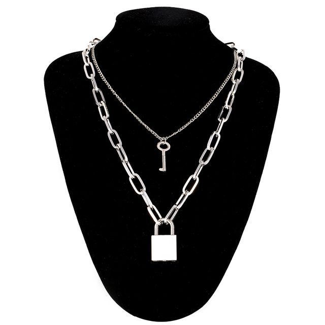 Double layer Lock Chain necklace 6