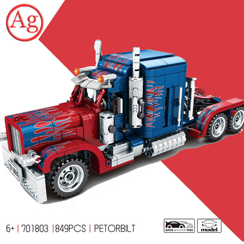 Tirare Indietro Auto Peterbilted 389 Camion Optimused Prime Colonne Building Block Compatibile Legoed Transformered Technic Giocattoli Dei Mattoni