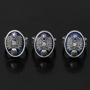 Кольцо для дневников вампира, модное кольцо в стиле панк с синей эмалью, 26 букв, A-Z кольца для мужчин и женщин, Винтажное кольцо для новорожде...