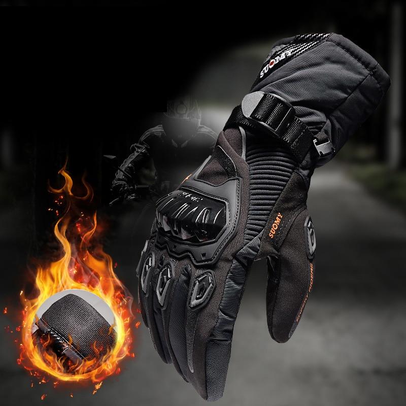 Мотоциклетные Перчатки SUOMY 100%, водонепроницаемые ветрозащитные зимние теплые защитные перчатки для сенсорных экранов