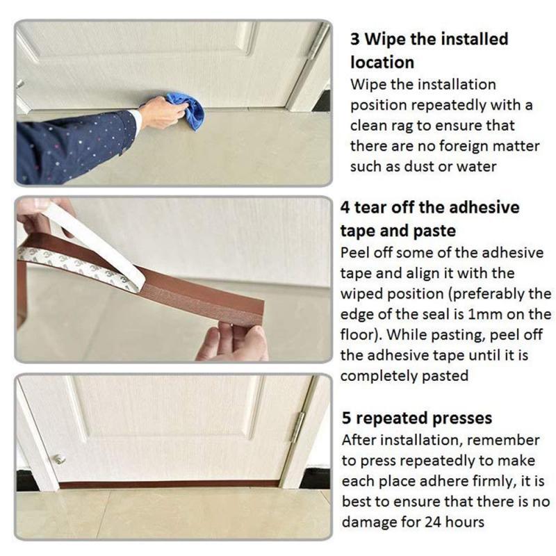 Tira de vedação inferior da porta flexível