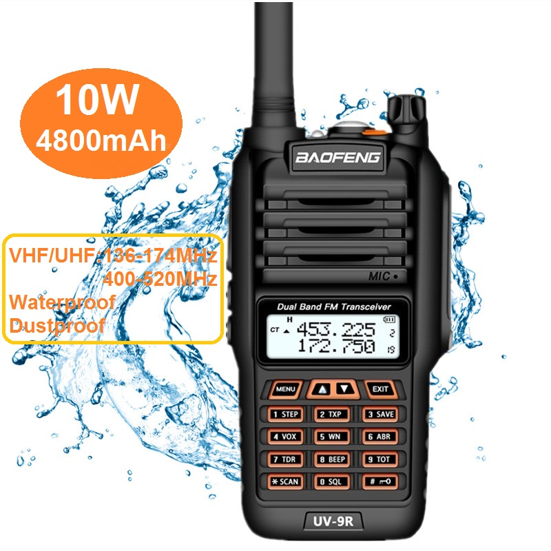 2020 10W BAOFENG UV-9R Plus Walkie Talkie Waterproof Marine CB Ham Radio Amateur UHF VHF UV 9R PLUS Powerfu Transceiver Scanning