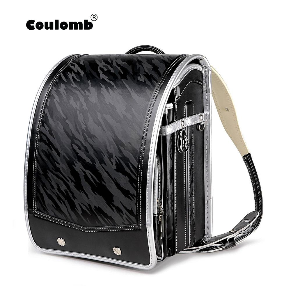 Coulomb Children Backpack Kids Orthopedic Backpack School Bag For Boy Students Bookbags Japan PU Randoseru Baby Bags
